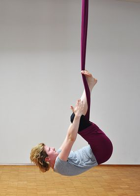 Aerial Yoga can also be quite demanding (Madeleine)