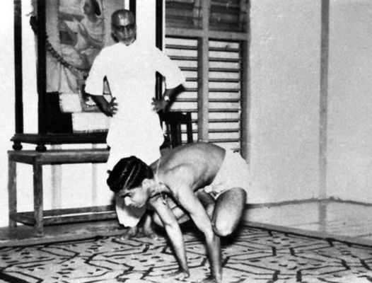 Krishnamacharya with his son Desikachar