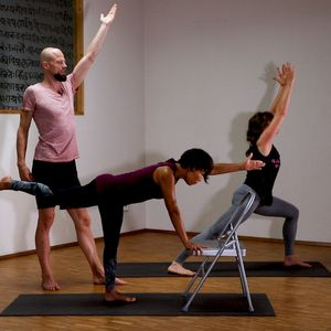 Sun Salutations with the seat of a chair