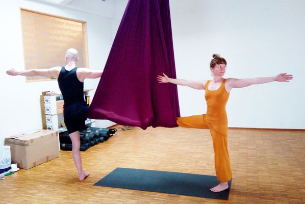 Of course, Melanie and Ronald were among the first to try Aerial Yoga.